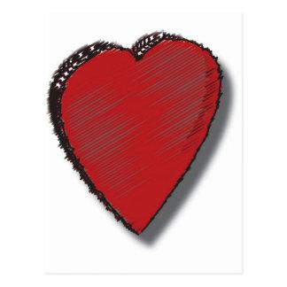 Corazón del garabato tarjetas postales