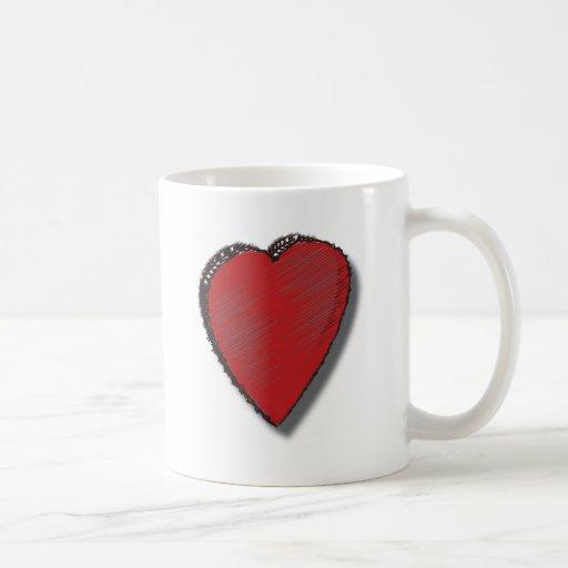 Corazón del garabato taza de café
