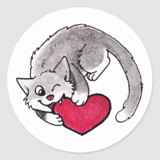 Corazón del gatito pegatina redonda