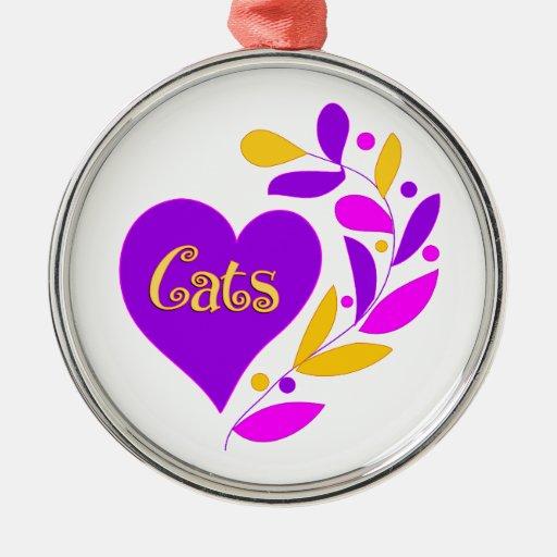 Corazón del gato adorno