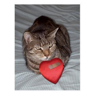 Corazón del gato Bandaid Tarjeta Postal