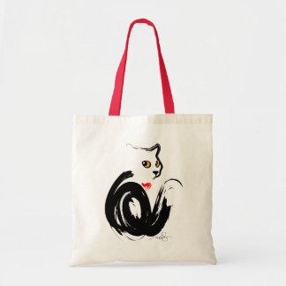 "Corazón del gato negro ""n"" bolsas lienzo"