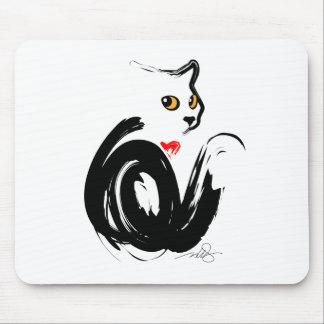 """Corazón del gato negro """"n"""" alfombrilla de ratones"""