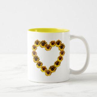 Corazón del girasol taza de café
