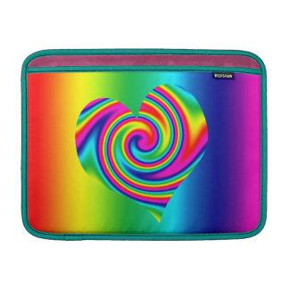 Corazón del giro del arco iris funda macbook air