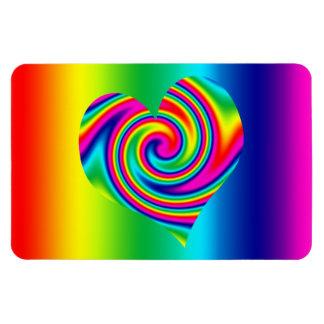 Corazón del giro del arco iris imán flexible