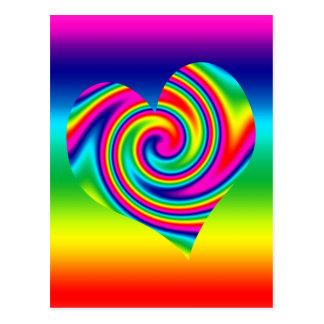 Corazón del giro del arco iris postal