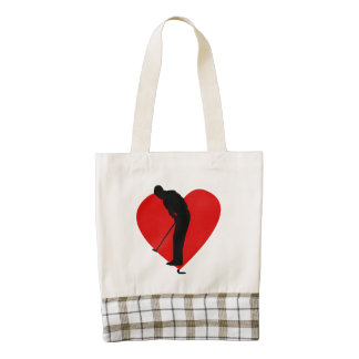 Corazón del golf bolsa tote zazzle HEART