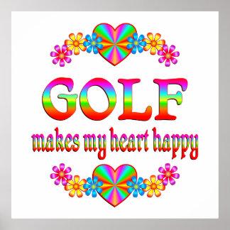 Corazón del golf feliz impresiones