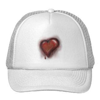 Corazón del goteo gorros bordados
