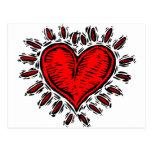 Corazón del grabar en madera postal