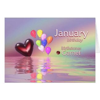 Corazón del granate del cumpleaños de enero tarjeta