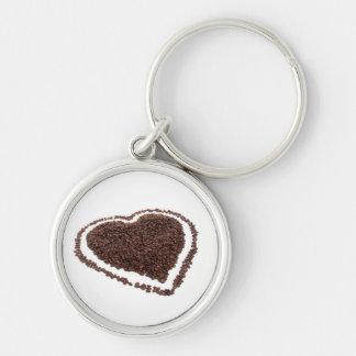 Corazón del grano de café llavero redondo plateado