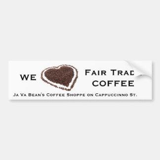 Corazón del grano de café pegatina para auto