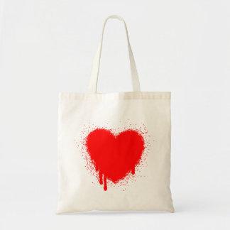 Corazón del Grunge - rojo Bolsas Lienzo