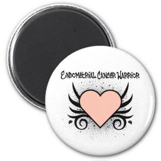 Corazón del guerrero del cáncer endometrial imán redondo 5 cm