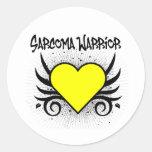 Corazón del guerrero del sarcoma etiquetas redondas