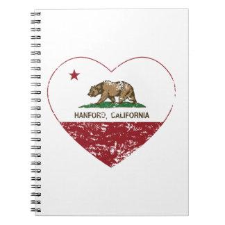 corazón del hanford de la bandera de California ap Spiral Notebooks