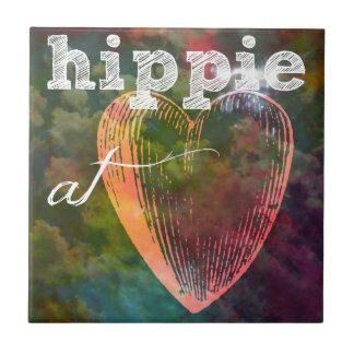 Corazón del Hippie Azulejo Cuadrado Pequeño