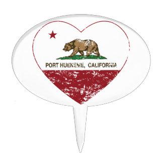 corazón del hueneme del puerto de la bandera de Ca Decoraciones Para Tartas