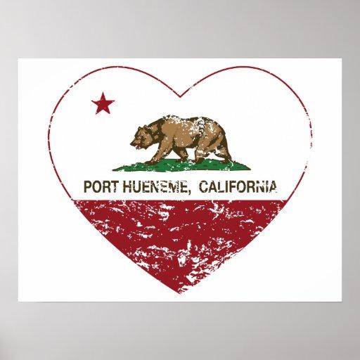 corazón del hueneme del puerto de la bandera de Ca Póster