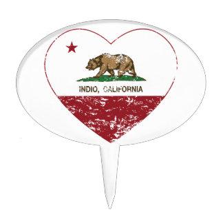 corazón del indio de la bandera de California apen Decoraciones Para Tartas