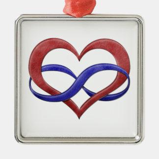 Corazón del infinito del orgullo de Polyamorous Adorno Navideño Cuadrado De Metal