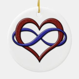 Corazón del infinito del orgullo de Polyamorous Adorno Navideño Redondo De Cerámica