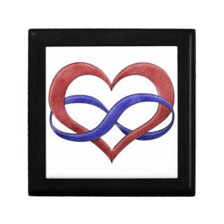Corazón del infinito del orgullo de Polyamorous Joyero Cuadrado Pequeño