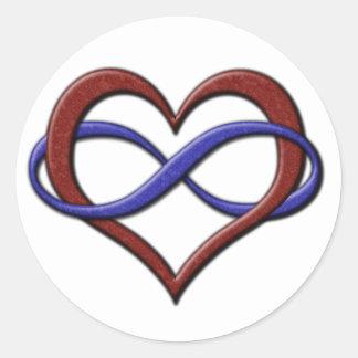 Corazón del infinito del orgullo de Polyamorous Pegatina Redonda