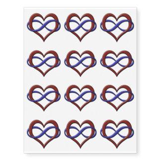 Corazón del infinito del orgullo de Polyamorous Tatuajes Temporales