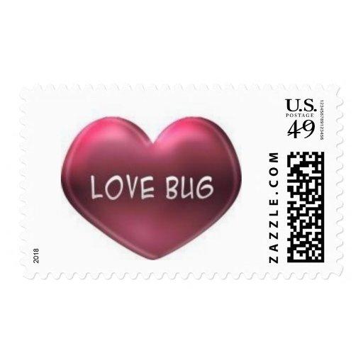 corazón del insecto del amor estampilla