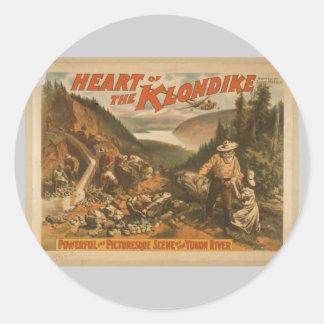 """Corazón del Klondike, teatro retro del """"río Yukón"""" Pegatina Redonda"""