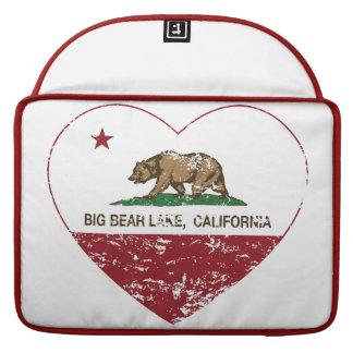 corazón del lago de Big Bear de la bandera de Cali Fundas Macbook Pro