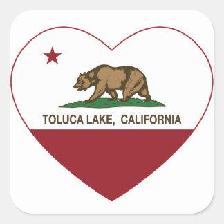 corazón del lago del toluca de la bandera de pegatina cuadrada