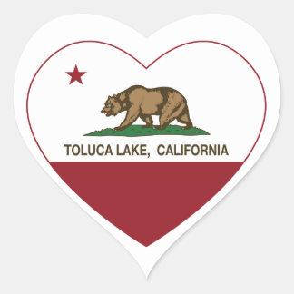 corazón del lago del toluca de la bandera de pegatina en forma de corazón