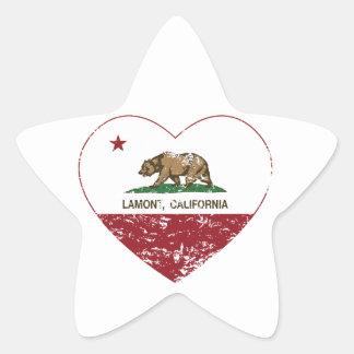 corazón del lamont de la bandera de California Pegatina En Forma De Estrella