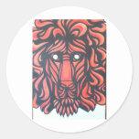 Corazón del león pegatina redonda