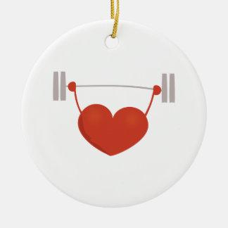 Corazón del levantamiento de pesas ornamentos de reyes