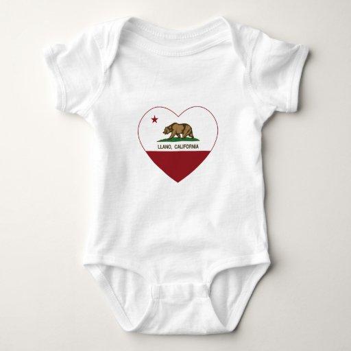 corazón del llano de la bandera de California Playeras