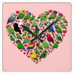 Corazón del loro relojes