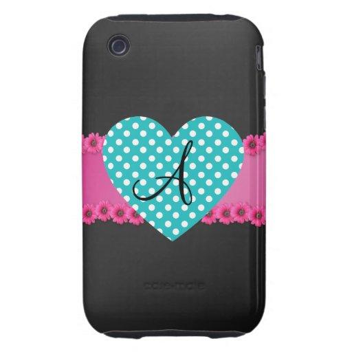 Corazón del lunar del monograma iPhone 3 tough protector