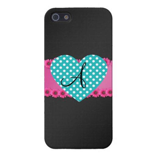 Corazón del lunar del monograma iPhone 5 fundas