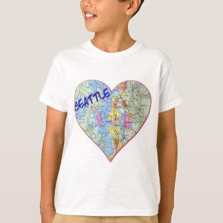 Corazón del mapa de Seattle Playeras