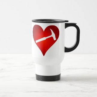 Corazón del martillo de la roca (zurdo) tazas de café