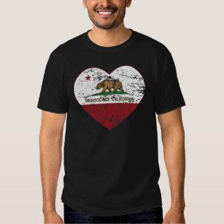 corazón del mendocino de la bandera de California Playera