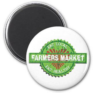 Corazón del mercado de los granjeros imán redondo 5 cm