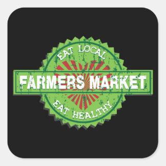 Corazón del mercado de los granjeros pegatinas cuadradases