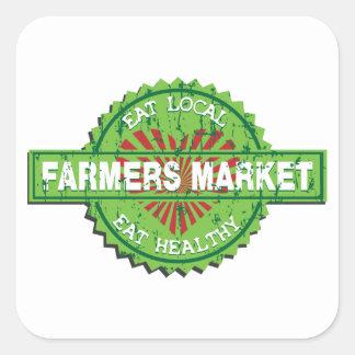 Corazón del mercado de los granjeros calcomanías cuadradass personalizadas