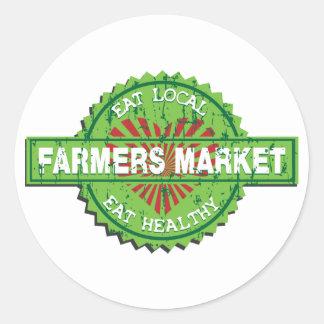 Corazón del mercado de los granjeros pegatina redonda